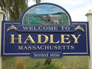 Welcome sign for Hadley MA where River Valley Dental is located.